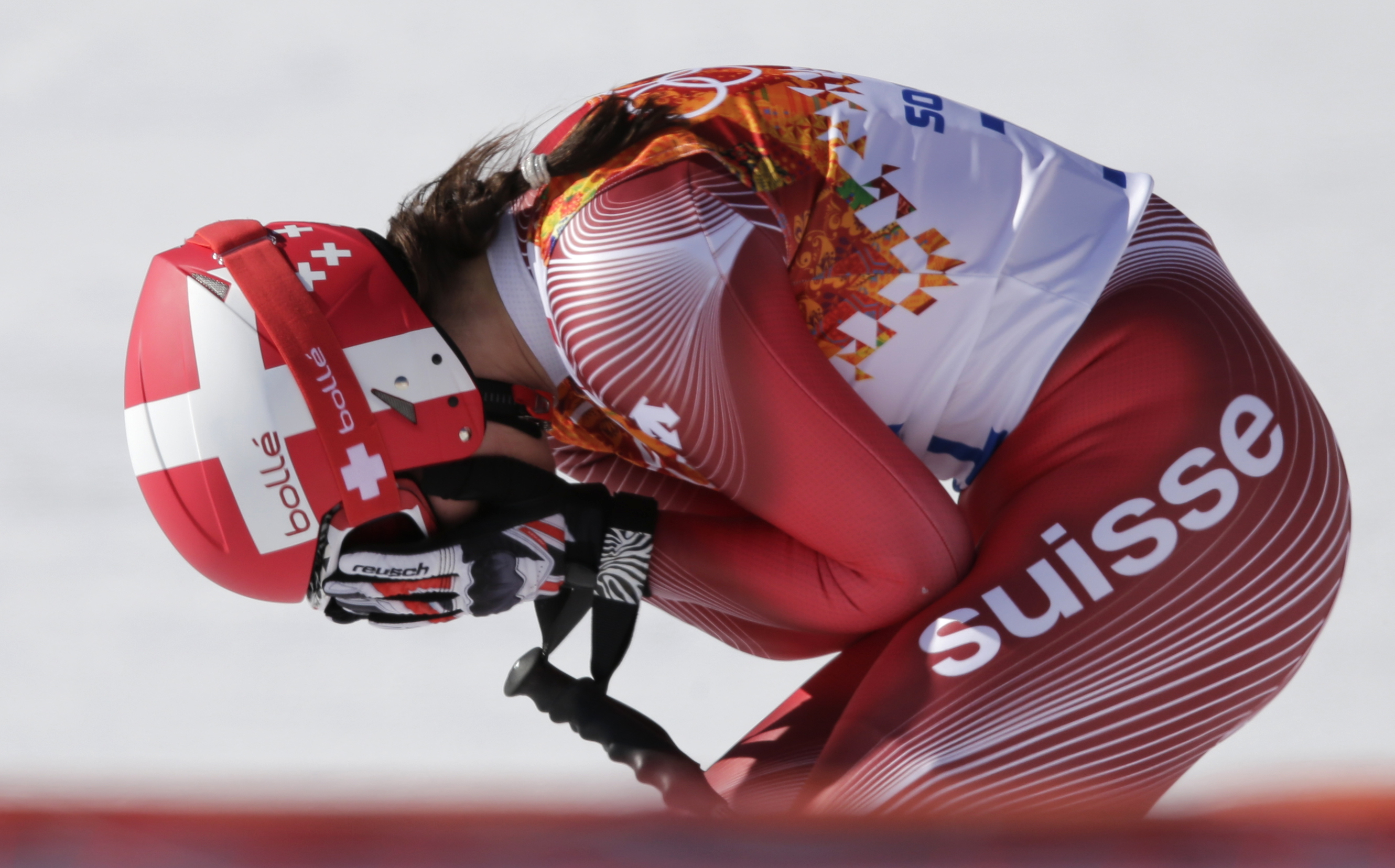 Switzerland's Dominique Gisin reacts after a women's downhill training run for the Sochi 2014 Winter Olympics, Friday, Feb. 7, 2014, in Krasnaya Polyana, Russia. (AP Photo/Gero Breloer)