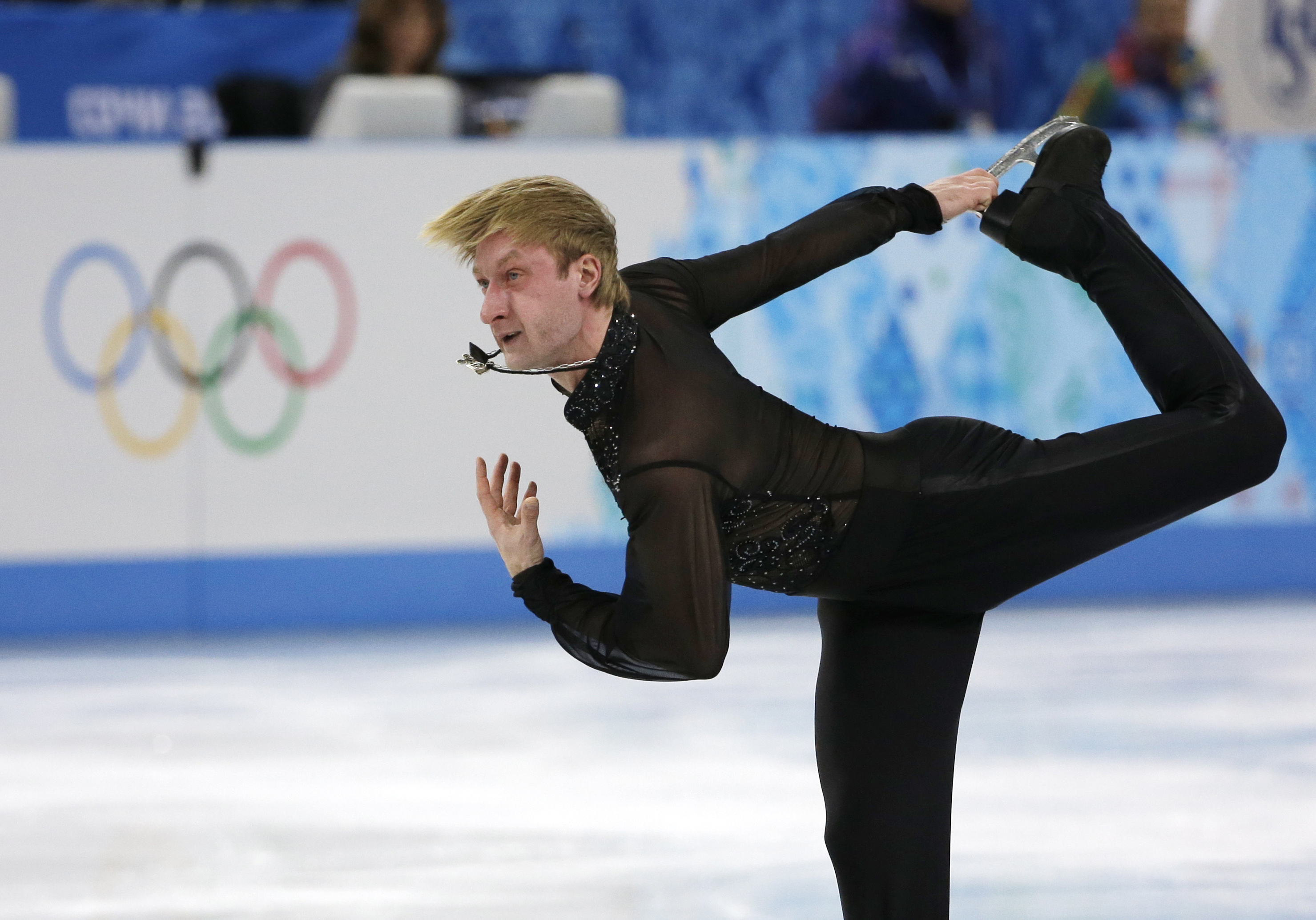 Evgeni Plushenko of Russia competes in the men's team free skate figure skating competition at the Iceberg Skating Palace during the 2014 Winter Olympics, Sunday, Feb. 9, 2014, in Sochi, Russia. (AP Photo/David J. Phillip )