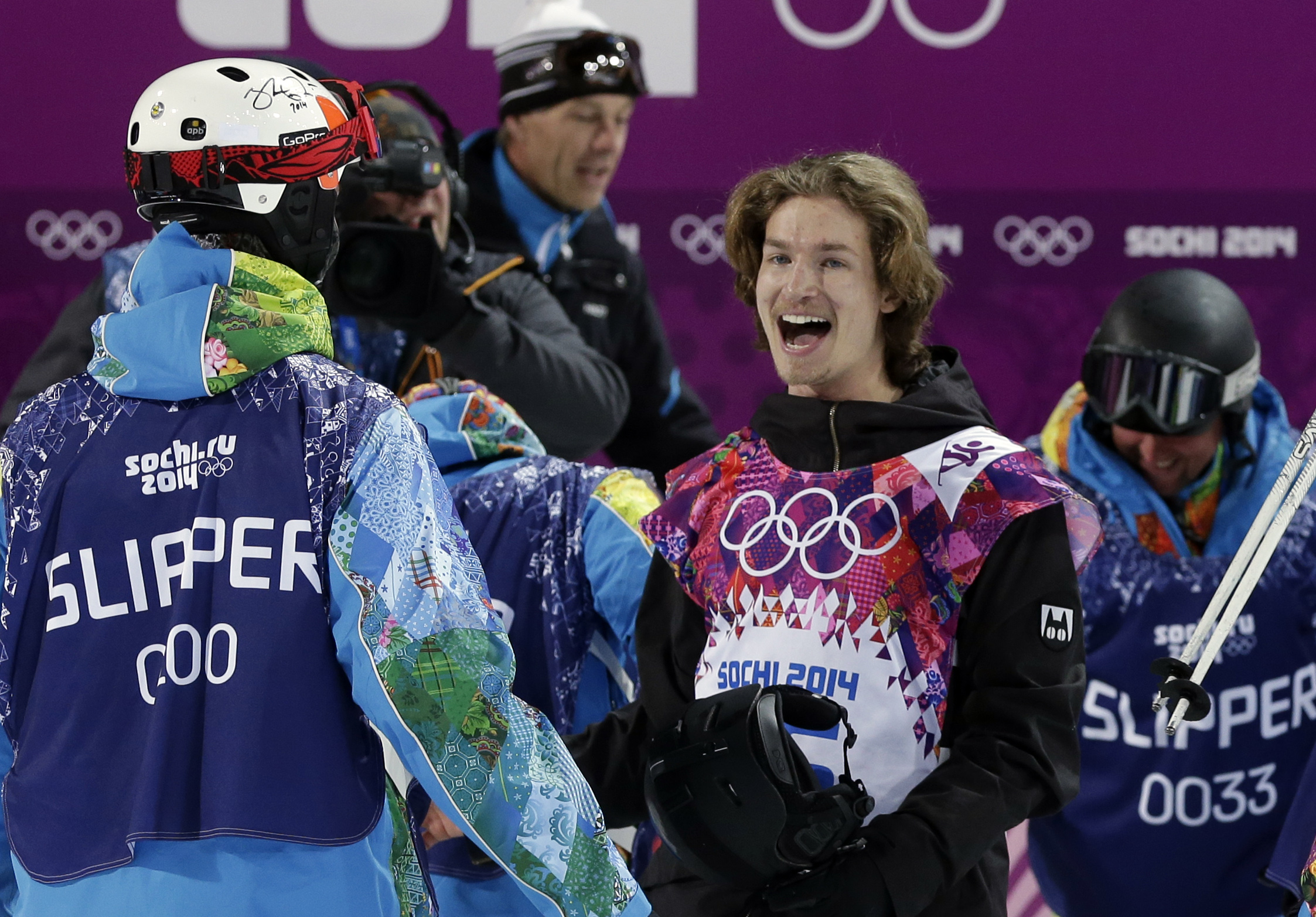 Switzerland's Iouri Podladtchikov celebrates after his half pipe run during the men's snowboard halfpipe final at the Rosa Khutor Extreme Park, at the 2014 Winter Olympics, Tuesday, Feb. 11, 2014, in Krasnaya Polyana, Russia. Podladtchikov won the gold medal. (AP Photo/Andy Wong)