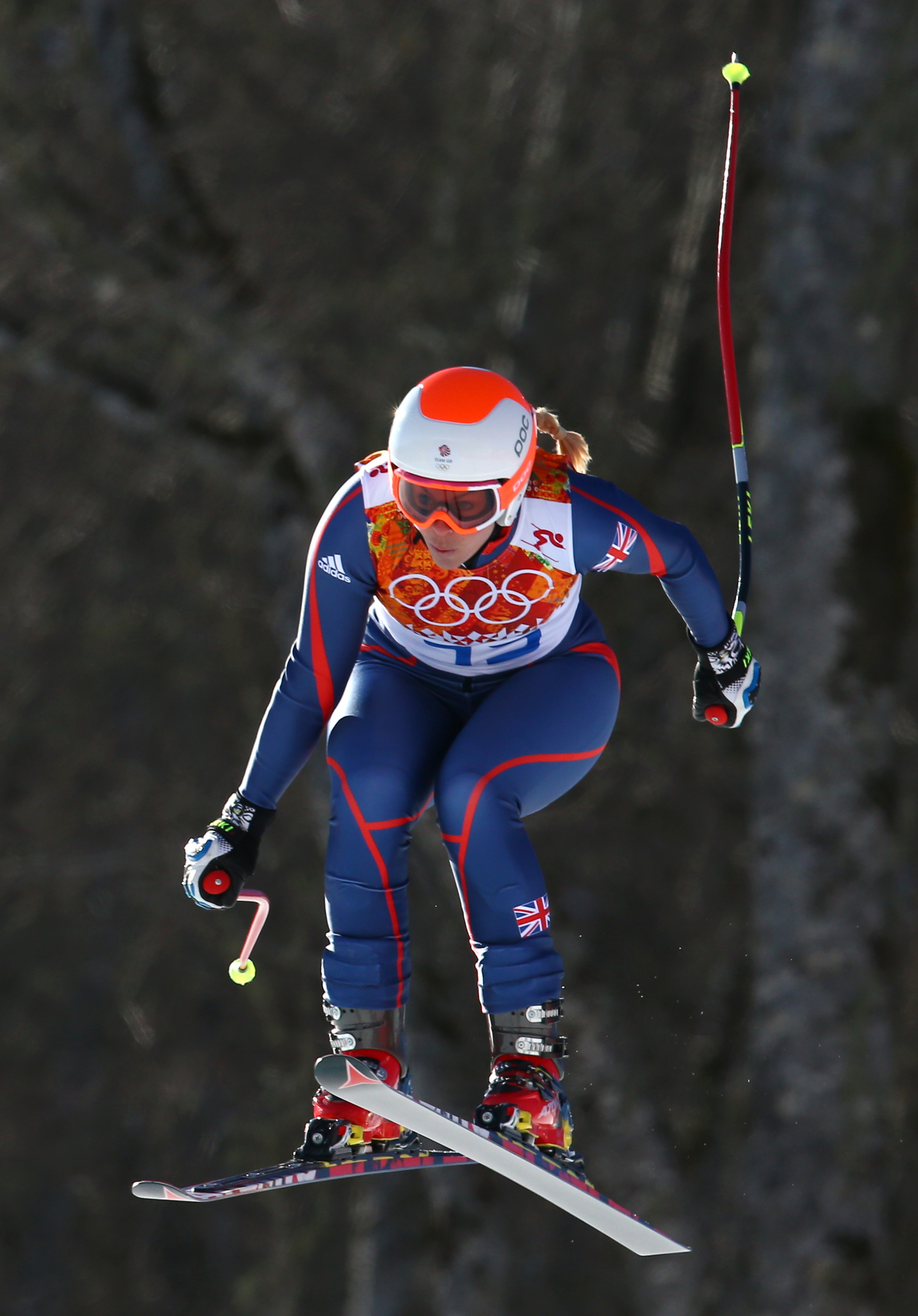 Britain's Chemmy Alcott makes a jump during the women's downhill at the Sochi 2014 Winter Olympics, Wednesday, Feb. 12, 2014, in Krasnaya Polyana, Russia. (AP Photo/Alessandro Trovati)