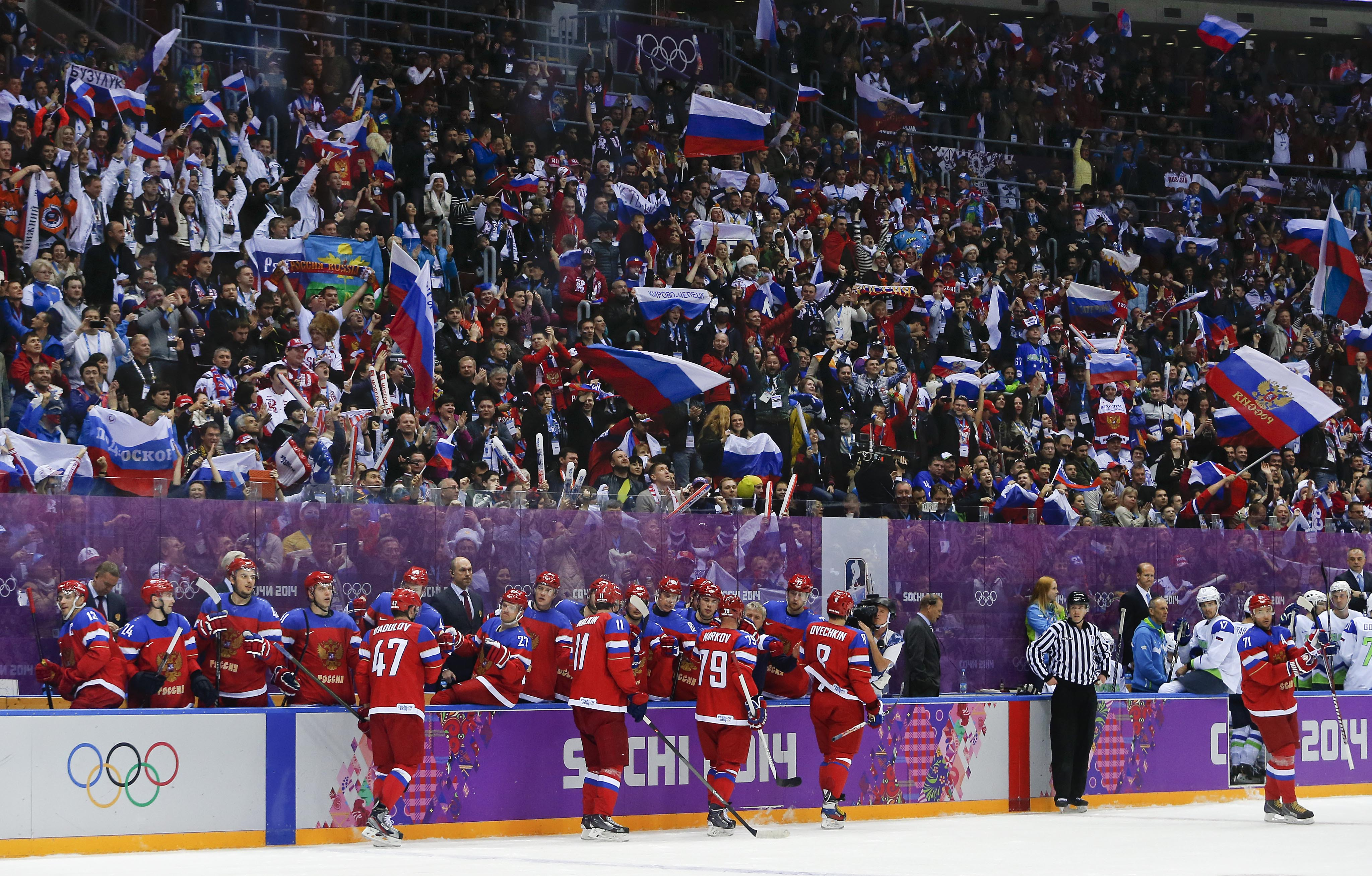 Fans cheer a goal by the team Russia against Slovenia in the second period of a men's ice hockey game at the 2014 Winter Olympics, Thursday, Feb. 13, 2014, in Sochi, Russia. (AP Photo/Julio Cortez)
