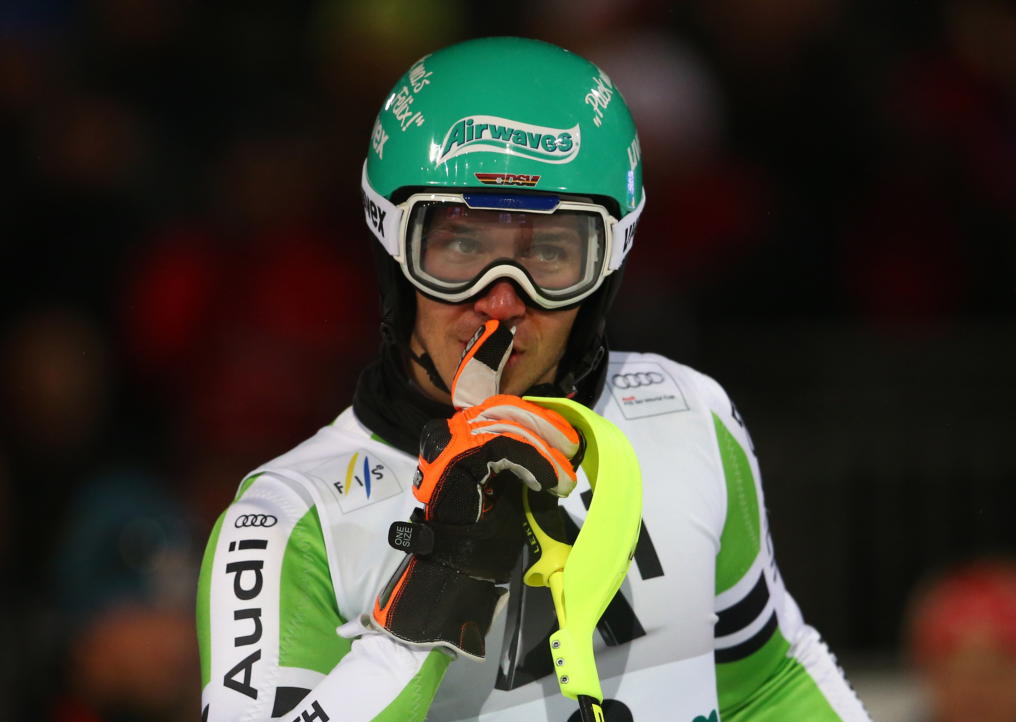 Third placed Felix Neureuther, of Germany, gestures at the finish area at the end of an alpine ski men's World Cup Night Slalom in Schladming, Austria, Tuesday, Jan. 28, 2014. (AP Photo/Giovanni Auletta)