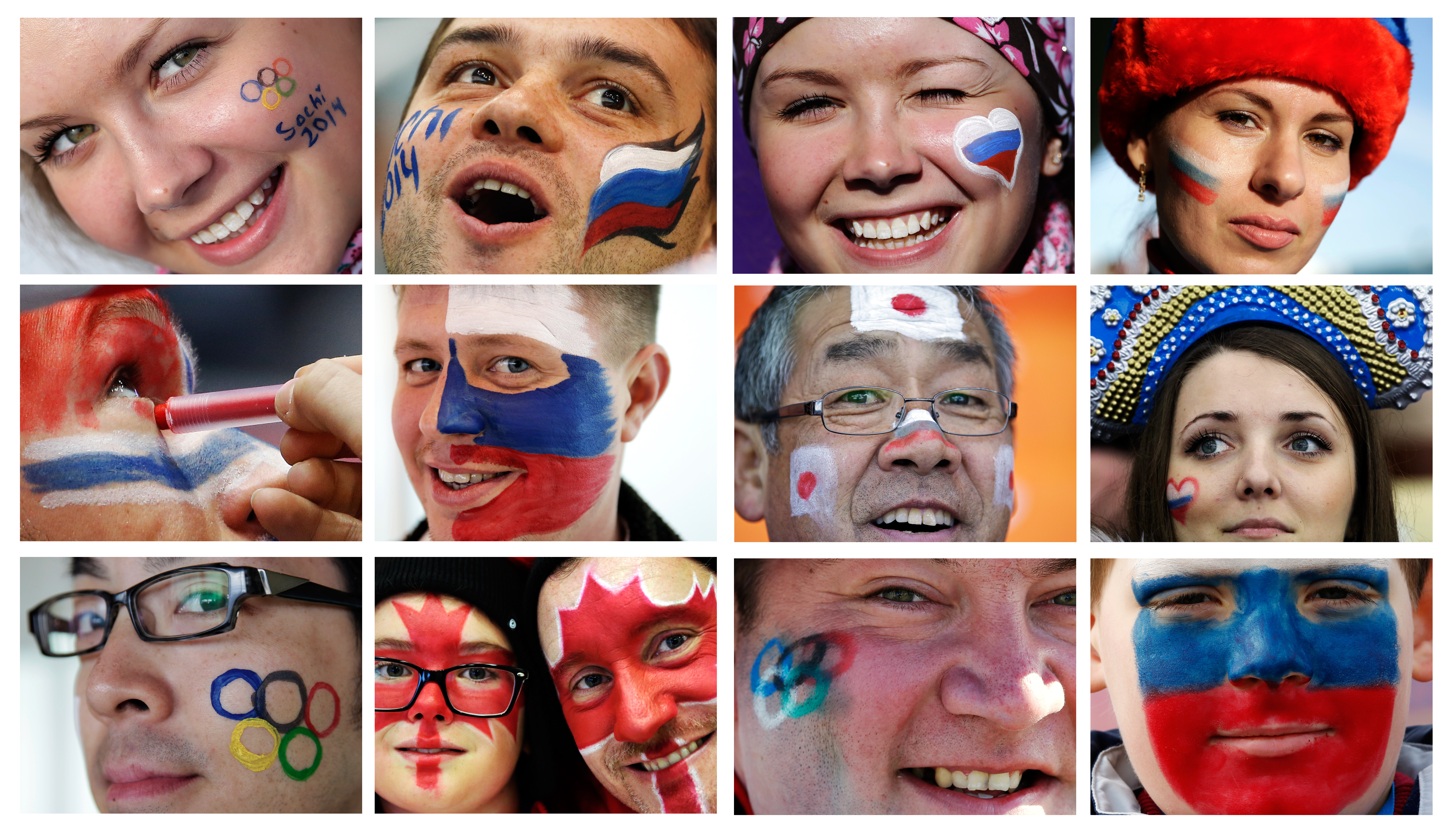 In this combination of photos taken between Feb. 9 and Feb. 13, 2014, spectators at the 2014 Winter Olympics in Sochi, Russia, show their national pride with face paint. (AP Photo)