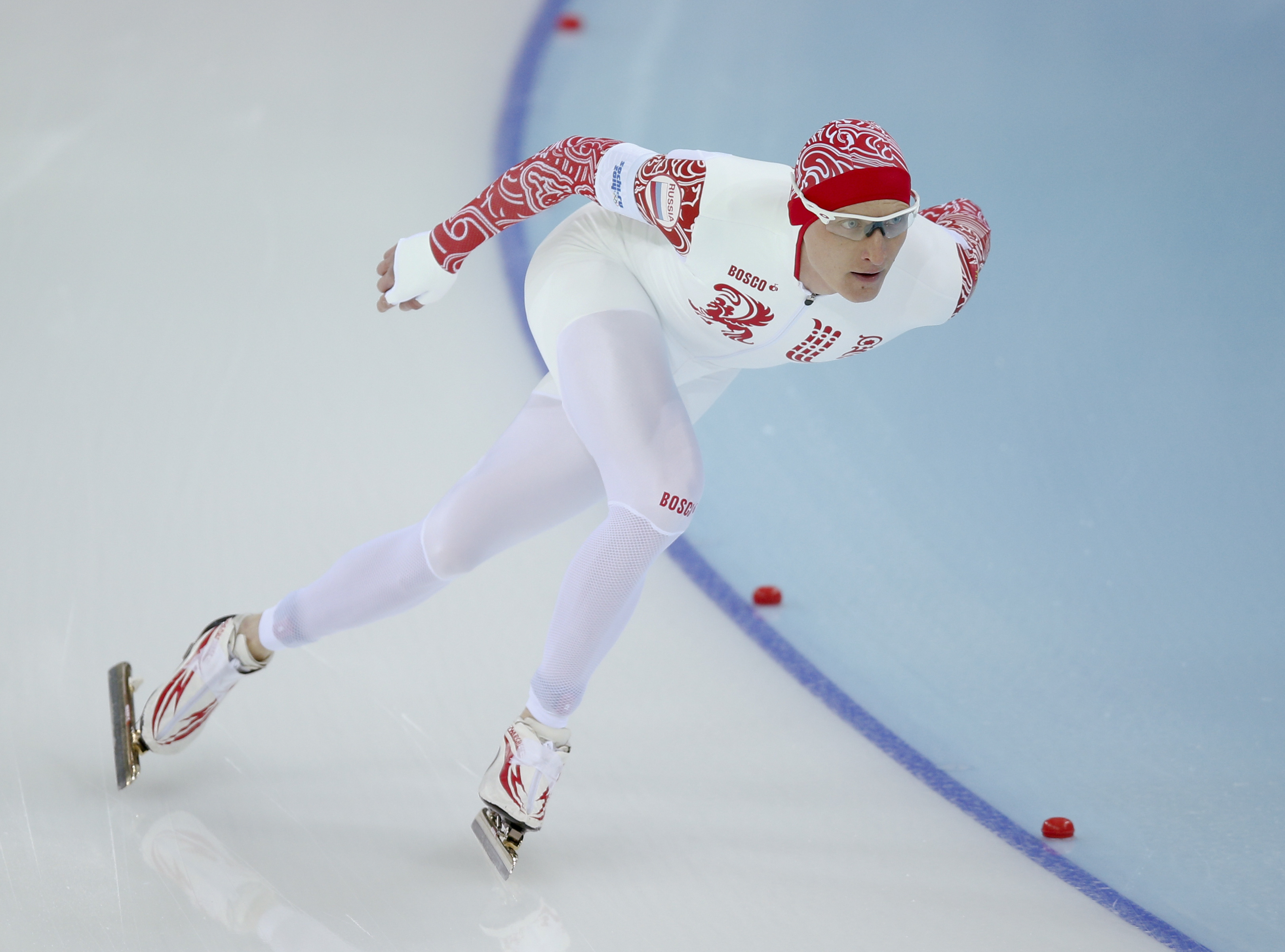Russia's Ivan Skobrev competes in the men's 1500-meters race at the Adler Arena Skating Center at the 2014 Winter Olympics, Saturday, Feb. 15, 2014, in Sochi, Russia. (AP Photo/Pavel Golovkin)