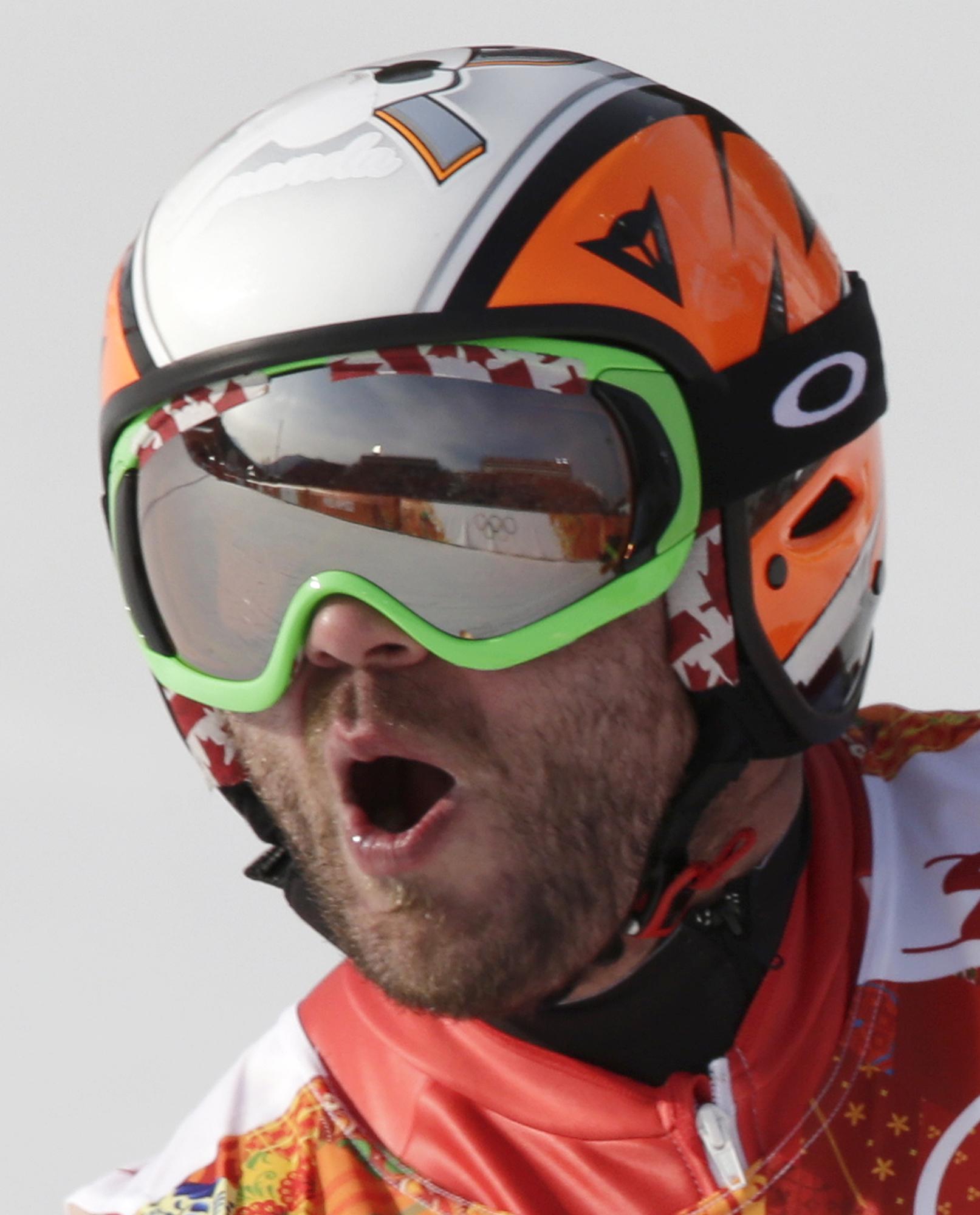 Canada's Jan Hudec celebrates after his run in the men's super-G at the Sochi 2014 Winter Olympics, Sunday, Feb. 16, 2014, in Krasnaya Polyana, Russia.(AP Photo/Gero Breloer)