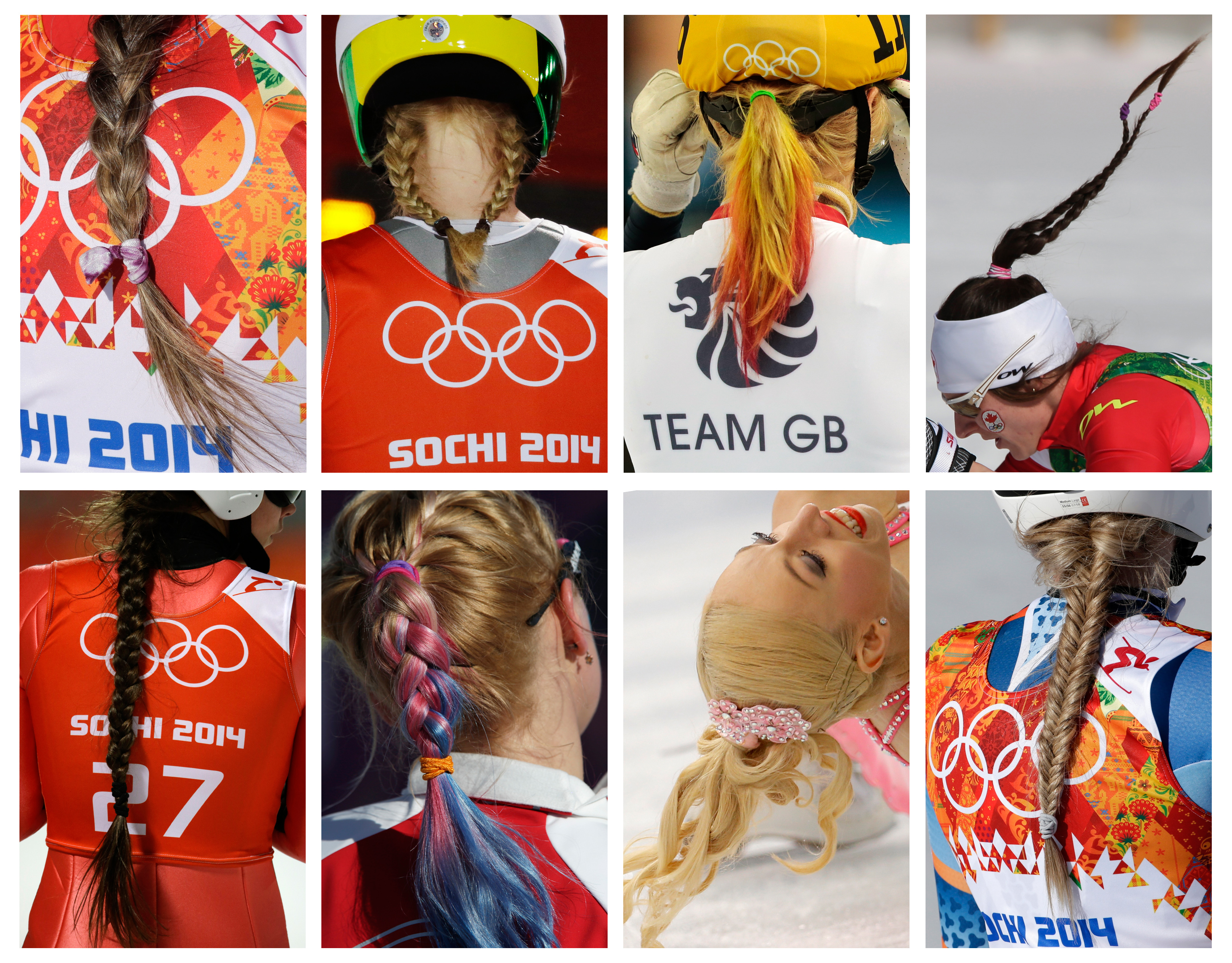 This combination photo shows various hairstyles worn by Olympic athletes at the 2014 Winter Olympics in Sochi, Russia. Top row, from left; Canada's Marie-Pier Prefontaine, women's super-G; Norway's Gyda Enger, normal hill ski jumping; Elise Christie of Britain, 500m short track speedskating; Canada's Daria Gaiazova,  4x5K cross-country relay; bottom row, Russia's Irina Avvakumova, normal hill ski jumping; United States' Jessica Diggins, 4x5K cross-country relay; Stacey Kemp of Britain, pairs short program figure skating; and Norway's Ragnhild Mowinckel, downhill. (AP Photo)