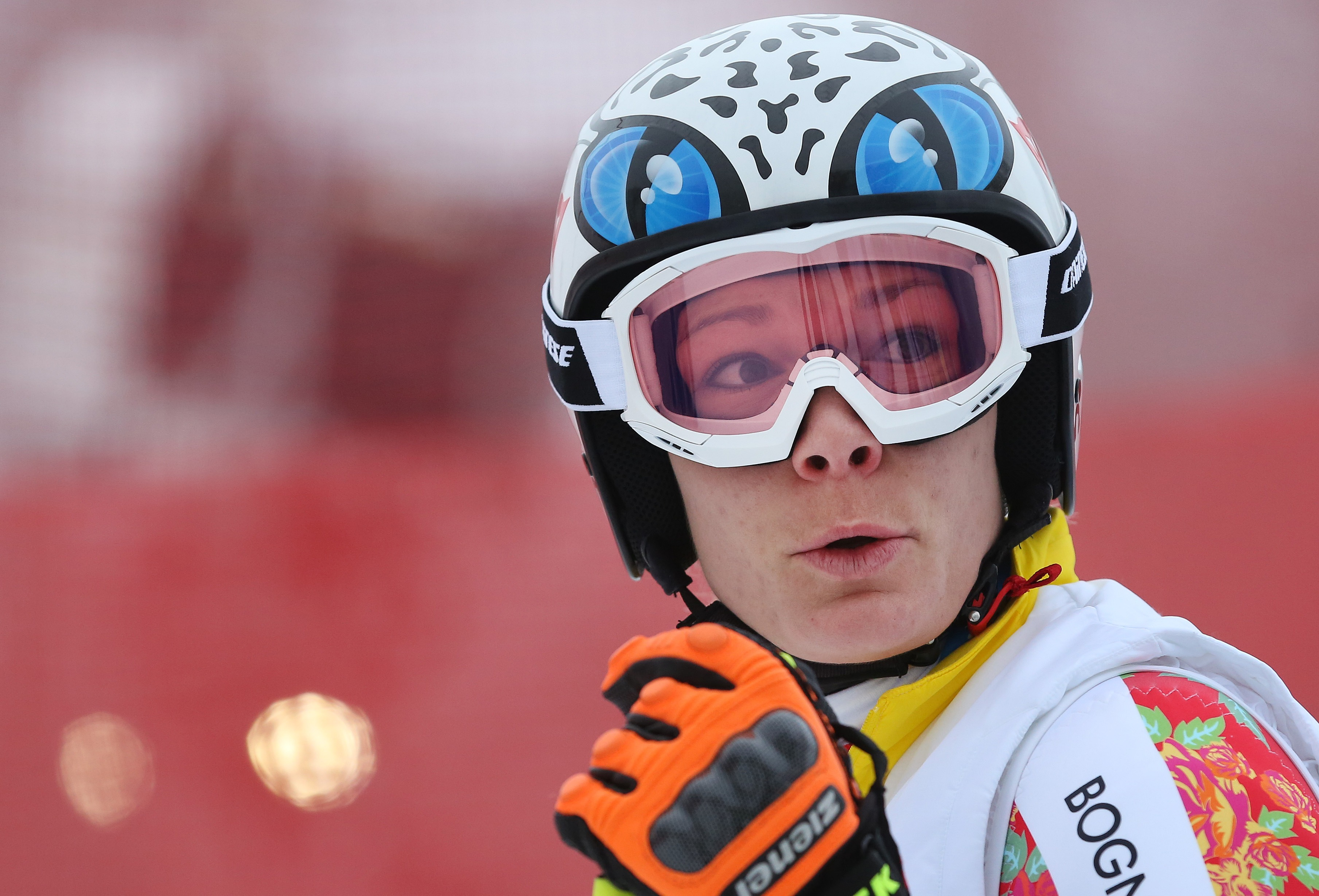 Germany's Maria Hoefl-Riesch stands on the alpine skiing training slopes at the Sochi 2014 Winter Olympics, Monday, Feb. 17, 2014, in Krasnaya Polyana, Russia. (AP Photo/Alessandro Trovati)