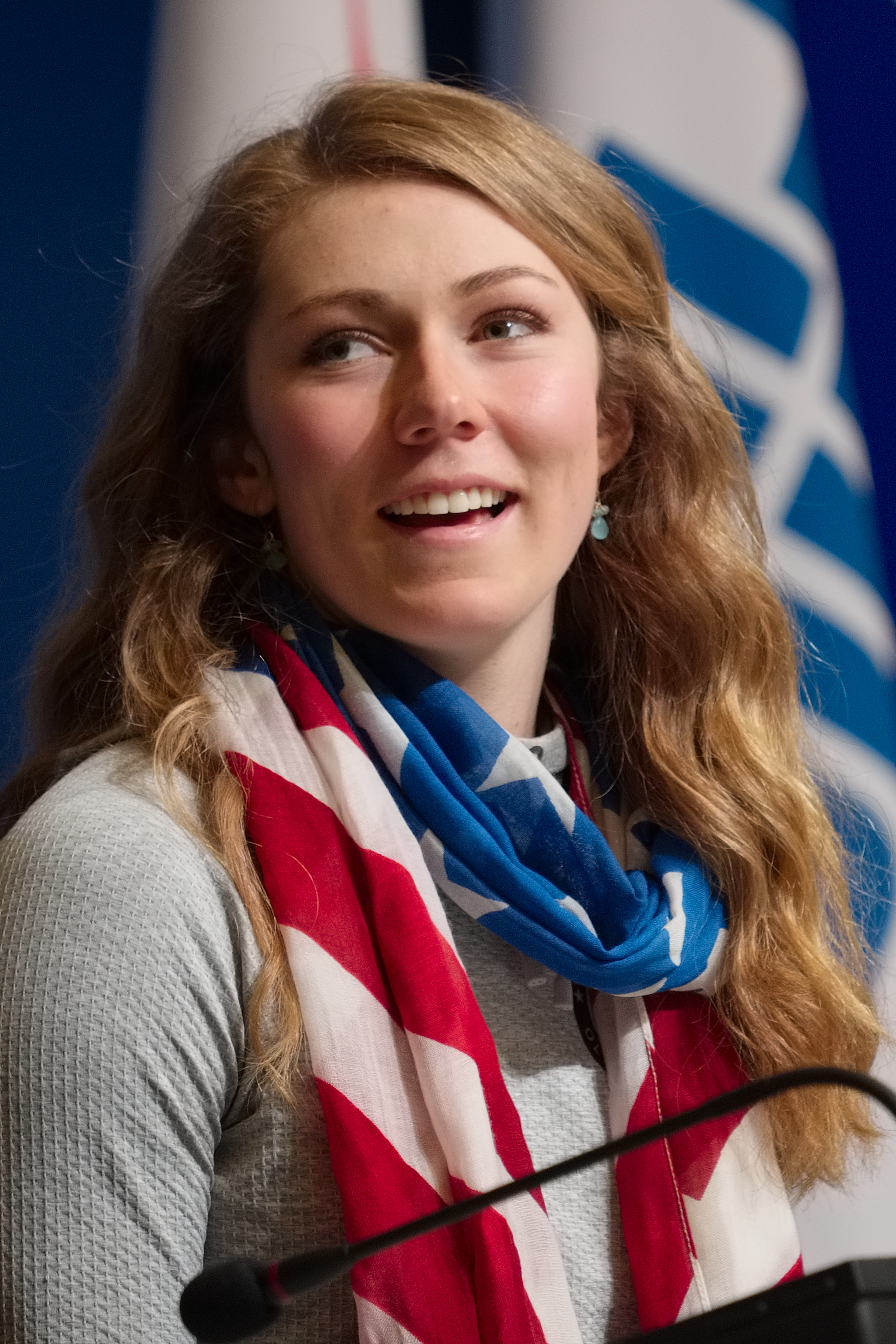 U.S. alpine skier Mikaela Shiffrin talks about her gold medal win in the women's slalom during a press conference at the 2014 Winter Olympics, Saturday, Feb. 22, 2014, in Sochi, Russia. (AP Photo/J. David Ake)