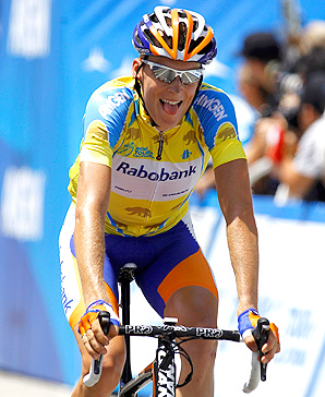 Robert Gesink won the Tour of California by 46 seconds just eight months after breaking his right leg in four places.