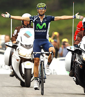 Movistar's Alejandro Valverde of Spain won stage 17, the last major mountain stage of the 2012 Tour de France.