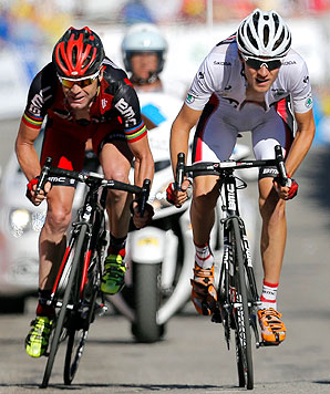 American Tejay van Garderen (right), with BMC team leader Cadel Evans, is in the running to win the white jersey for the best young rider.