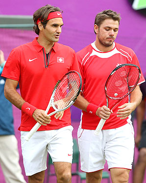 Roger Federer and doubles partner Stan Wawrinka, both fathers, exemplify the greying field of tennis at the Olympics.