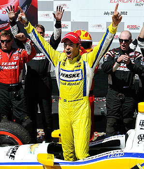 Helio Castroneves claimed his second victory of the year in Edmonton.