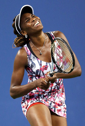 Venus Williams' first-serve percentage was an anemic 54 percent and she won only 19 of 54 second-serve points.