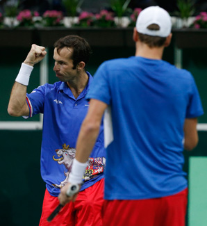 Radek Stepanek (left) and Tomas Berdych moved the Czechs one win away from its first Davis Cup title.