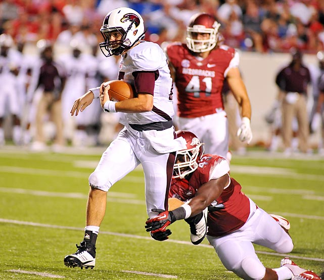 Louisiana-Monroe staged the first big upset of the season when the Warhawks stunned then-No. 8 Arkansas with a 34-31 overtime win. Quarterback Kolton Browning threw for 412 yards and scrambled to score the game-winning touchdown. By the end of the season it was clear that the Razorbacks were not all that they were cracked up to be, as they finished 4-8.