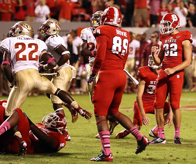 Entering the game 5-0, the third-ranked Seminoles were stunned by ACC opponent N.C. State on Oct. 6. Trailing 16-10 with 16 seconds left, Wolfpack quarterback Mike Glennon connected with Bryan Underwood for a two-yard, game-tying touchdown pass. Kicker Niklas Sade nailed the PAT to give his team the victory.