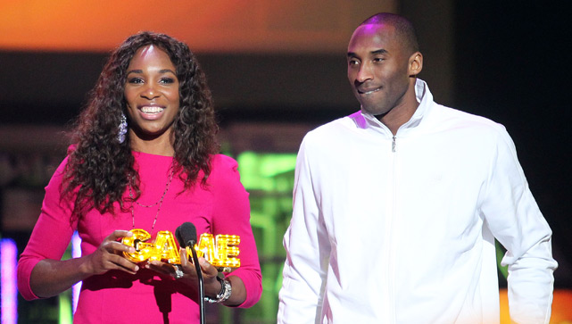 "Venus Williams and Kobe speak during the 2011 Cartoon Network's ""Hall of Game"" Award Show in Santa Monica."
