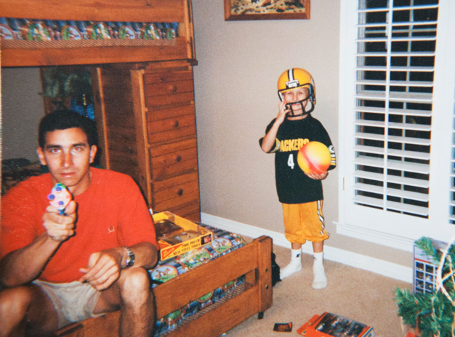 Manziel, age 4, shows off his allegiance to the Packers.