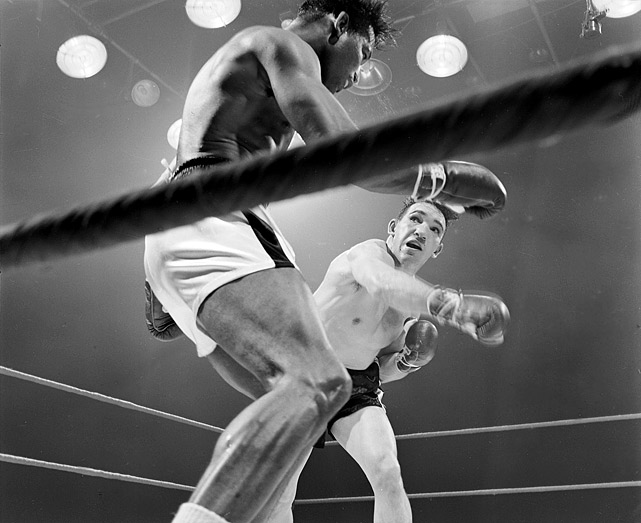 "The aging Robinson had lost the middleweight title to Fullmer in 1957, then won it back in dramatic fashion that <italics>Sports Illustrated</italics>'s Marin Kane called ""the perfect punch"" -- perhaps the finest one-punch finish in boxing history. In 1960, they fought a third time, with Fullmer retaining the WBA middleweight title on a 15-round draw. The fourth fight happened one year later, with Fullmer retaining his NBA middleweight title by unanimous decision in Robinson's final title bout."