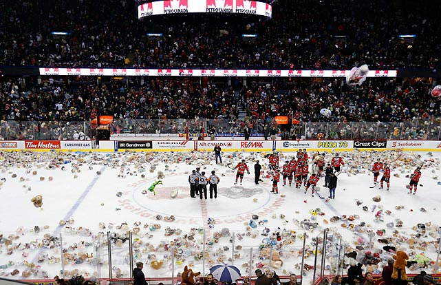 The Western Hockey League's Hitmen were pelted with more than 20,000 furry critters during their annual charity game. The players were no doubt grateful that the game is held in Calgary and not Detroit, where tossing octopi is the hallowed tradition.