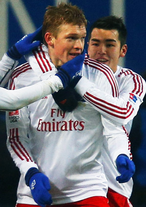 Artjoms Rudnevs scored both goals for Hamburg.
