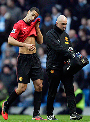 Rio Ferdinand was left bleeding from a cut above his left eye after being struck by an object.