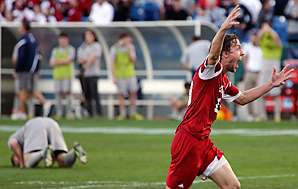 Patrick Doody (right) celebrates after Indiana knocked off Georgetown for the NCAA title
