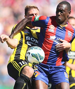 Emile Heskey (right) came over to the Newcastle Jets from Aston Villa this year.