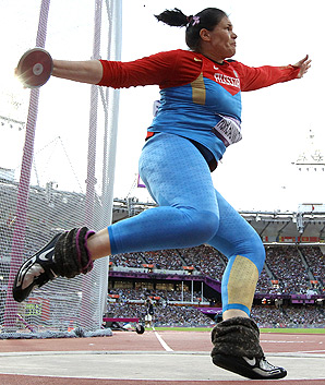 Russian discus thrower Darya Pishchalnikova is at risk for losing her Olympic silver medal after a positive doping test.