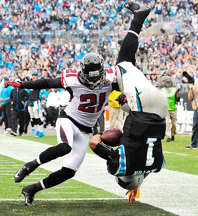 Cam Newton's dive across the goal line ended with what could have been a dangerous landing. The quarterback was not injured on the play.