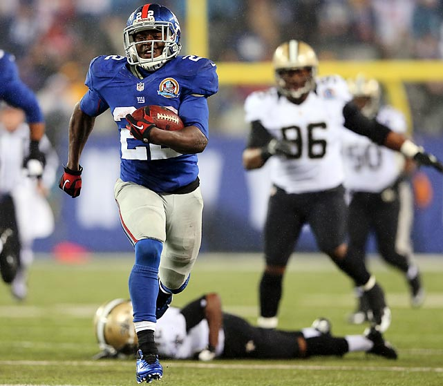 David Wilson broke free against the Saints, scoring his third touchdown of the game.