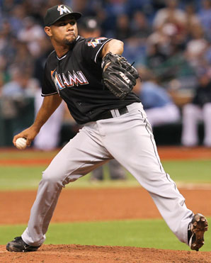 Sandy Rosario pitched in four games for the Marlins in 2012.