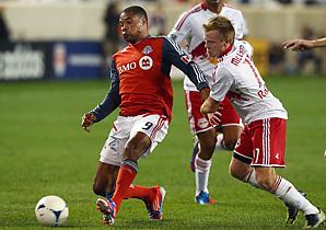 Ryan Johnson (left) scored seven goals in 31 regular-season games for Toronto FC.