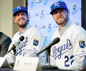 James Shields (left) and Wade Davis (right) will be joined in a new-look rotation by Ervin Santana and Jeremy Guthrie.