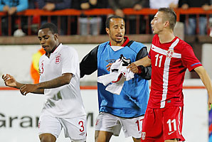 Danny Rose of England and Sasa Markovic of Serbia are separated during their Euro U21 match in October.