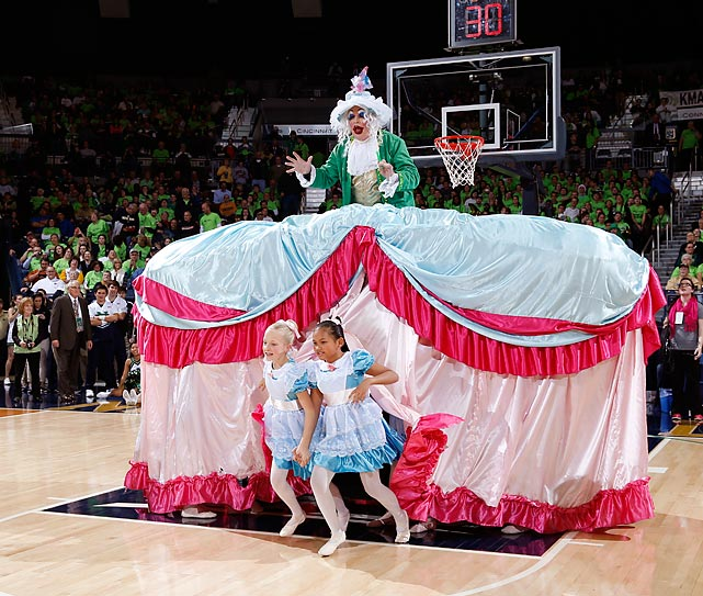 The Digger Phelps float, carrying the ex-coach and ESPN analyst, makes its way onto the court at Purcell Pavilion with the proper solemnity during halftime of a game won by Baylor, 73-61.
