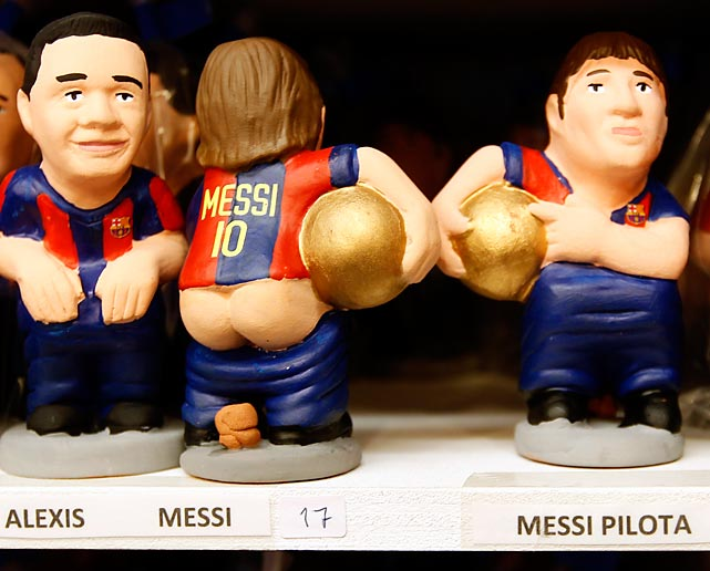 "The perfect, um, gift for the soccer fan in your life: a distinctive clay replica of Barcelona star Lionel Messi. According to our notes, ""Catalans hide caganers (defecators) in Christmas Nativity scenes and invite friends to hunt for them during celebrations. The caganers, which symbolize fertilizing the earth with dung, are believed to bring prosperity and luck for the coming year."" Their bobbleheads must be charming, too."