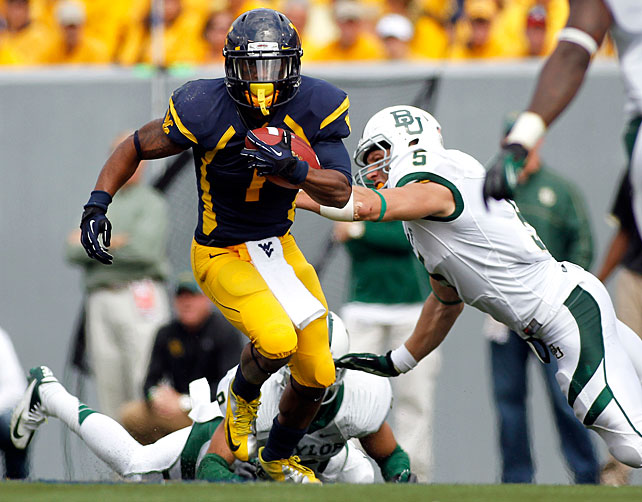 Though Mountaineers counterpart Stedman Bailey finished with more receiving touchdowns, Austin showcased his skills as a do-it-all playmaker. He ranked second nationally in all-purpose yards, and he torched Oklahoma on Nov. 17, blowing past the Sooners for 344 rushing yards, 82 receiving yards and 146 kick return yards.