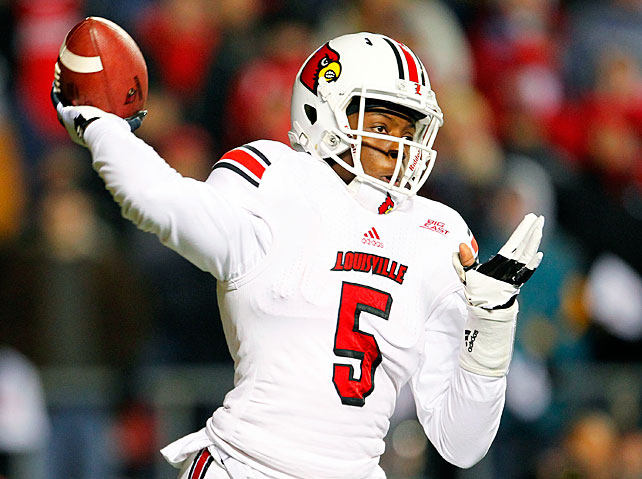 He throws one of the prettiest balls in college football, and he's a threat to go off even when hobbled by injury. Despite having a broken wrist and sore ankle, Bridgewater completed 20-of-28 passes for 263 yards and two touchdowns in Louisville's BCS-clinching victory at Rutgers.