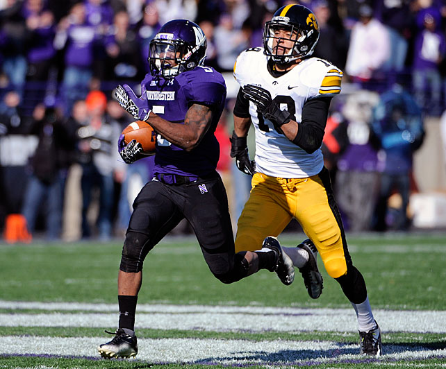 If Northwestern finally captures its first bowl victory since 1948, it will likely be due in large part to its elusive junior running back. Mark recorded 2,048 all-purpose yards, seventh in the nation, and returned punts for touchdowns against both Syracuse and Penn State.