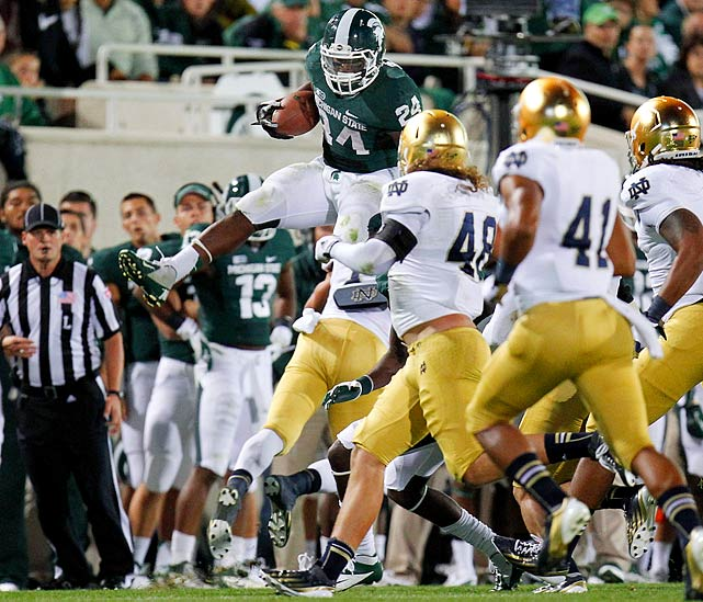 Bell dominated in his first season as Michigan State's feature back, averaging 137.3 rushing yards per game, third best in the FBS. Bell wowed well beyond the box score, hurdling his way into the early Heisman conversation and stiff-arming his way to the most rushing yards in the Big Ten.