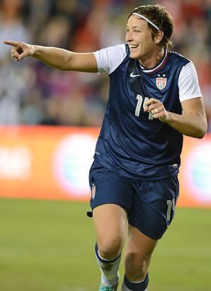 Abby Wambach reacts after scoring her first goal in Saturday's win.