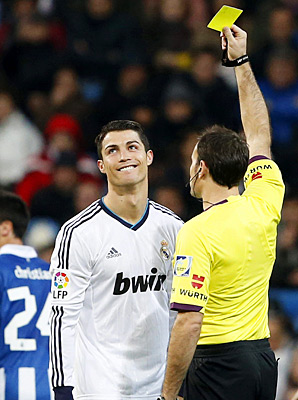 Cristiano Ronaldo was given a yellow card in Real Mardid's draw with Espanol.