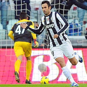 Mirko Vucinic scored one of Juventus' three goals against Atalanta.