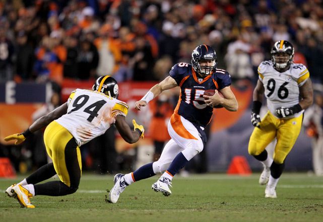 It may only have been a wild-card game, but this contest was one of the most memorable in years thanks to Tebowmania. The Broncos quarterback, who had already thrown for a touchdown and run for another, eliminated the Steelers by completing an 80-yard touchdown pass on the first play of overtime.