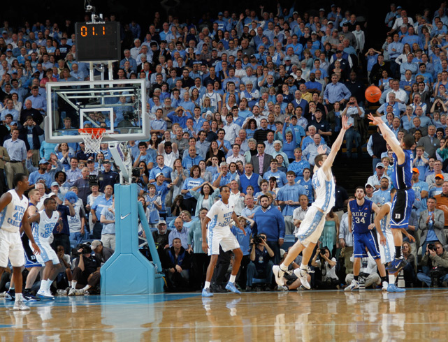 Duke and UNC have played many games over the decades, but February's clash ranks right up there with the best of them. Freshman guard Austin Rivers nailed a three-pointer at the buzzer, giving Duke the win and breaking the Tar Heels' 31-game home winning streak.