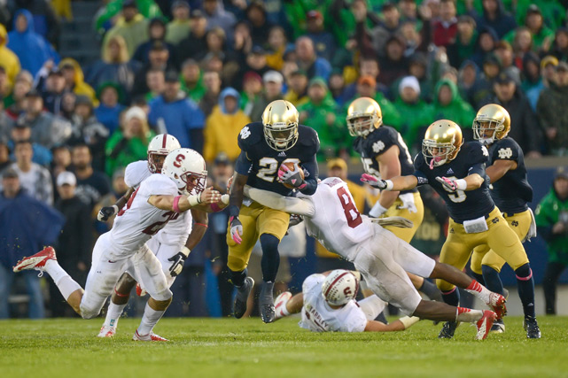 This was the game the nation found out that the Notre Dame defense was not to be reckoned with. Trailing 20-13 in overtime with second-and-goal on the 1, the Cardinal needed a touchdown. But try as he might, running back Stepfan Taylor just could not break through the Irish defense. Three plays later, the goal-line stand was complete and the victory was Notre Dame's.