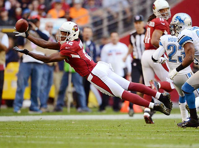 Arizona wide receiver Andre Roberts stretches out to grab a pass. The Cardinals rolled over the Lions 38-10.
