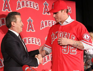 Owner Arte Moreno signed Josh Hamilton to a five-year, $125 million contract.